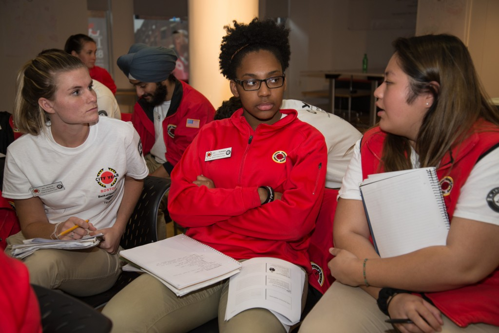 three City Year volunteers