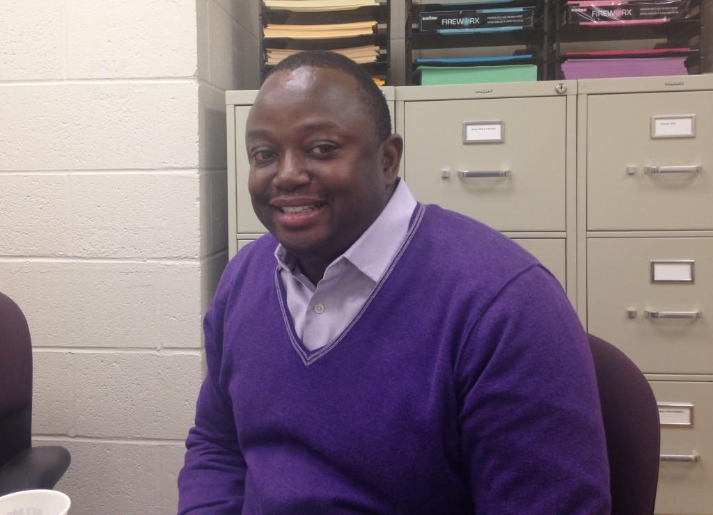 Mutyabule in purple sweater