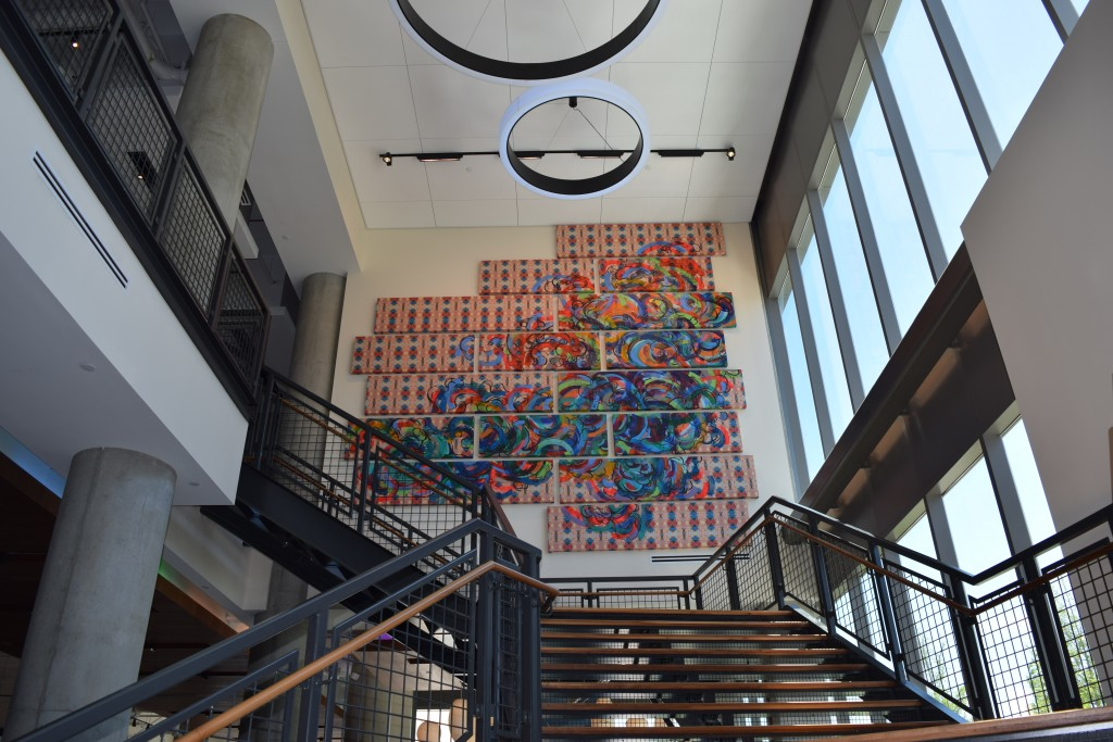 Local artist Destiny Palmer created this large-scale work for the Aloft Hotel staircase as a result of a request for proposals the developer issued to Fort Points Arts Community, a non-profit that preserves the artists' community in South Boston's Fort Point neighborhood.